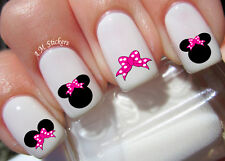 Minnie Mouse Pink Bow Nail Art Stickers Transfers Decals Set of 66