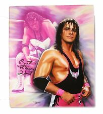 WWE BRET THE HITMAN HART HAND SIGNED AUTOGRAPHED PAINTING WITH COA RARE