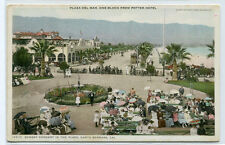 Sunday Concert Plaza Del Mar Santa Barbara California 1910c Phostint postcard
