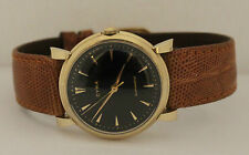 Men's Vintage Cyma Automatic 14K Yellow Gold Black Dial Circa 1950s Watch