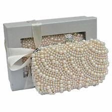Nude Sparkly Crystal Diamante Satin Clutch Bag Hardcase Wedding Prom Evening New