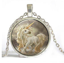 HOT Vintage Unicorn Cabochon Silver plated Glass Chain Pendant Necklace #5