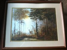 Gerald Coulson Quiet Forest Framed art SIGNED AMAZING deer Painting print!!