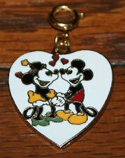 NICE VINTAGE DISNEY MICKEY MOUSE MINNIE MOUSE HEART SHAPED PENDANT CHARM 1""