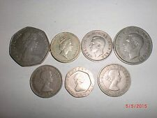 - UK(GREAT BRITAIN) - 7  OLD & NEW HIGH DENOMINATION  COINS -1947-1985 #7E