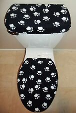 Black & White Paw Prints Fabric Toilet Seat Cover Set Bathroom Accessories