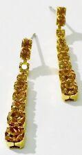 boucles d'oreilles percées bijou vintage couleur or cristaux citrine * 1759
