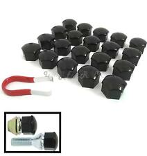 20pc Car Wheel Nut Bolt Head 17mm Black Covers Caps Plastic Hexagonal Protectors