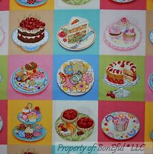BonEful FABRIC FQ Cotton Quilt Block Girl Sweet Birthday Cupcake Flower Cookie L