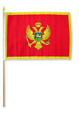 "12x18 12""x18"" Wholesale Lot of 3 Montenegro Stick Flag wood staff"