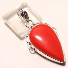RED CORAL .925 STERLING SILVER PENDANT 2.11""