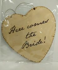 Wood Heart HERE COMES THE BRIDE Sign Rustic Chic Wedding Decoration Decor