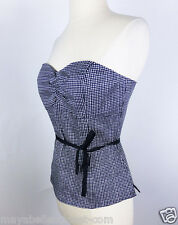 MINT$94 *WHITE HOUSE BLACK MARKET* Gingham SWEETHEART Corset BUSTIER  TOP 6 4 S