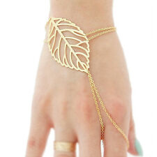 Womens Gold Women Slave Chain Bracelet With Hollow leaves And Finger Ring