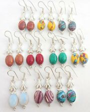 MIX GEMSTONE 10PR WHOLESALE LOT 925 STERLING SILVER OVERLAY ONLINE SELL EARRING