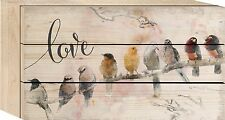"LOVE Birds Distressed Wood Box Sign, 4.5"" x 8"", by P. Graham Dunn"