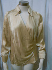 ANN TAYLOR SIZE 8 BEIGE 100% SILK LONG SLEEVE V-NECK TOP WITH SIDE ZIP