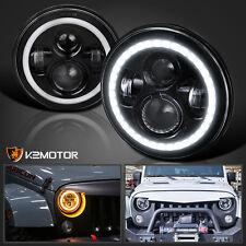 "7"" Black LED DRL Halo Projector Headlights Fit Wrangler Land Rover Defender"