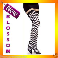 8062 Checker Tights Black & Grey Stay Up Alice in Wonderland Costume Stockings