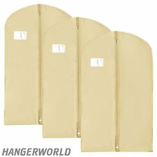 "3 Ivory Breathable Suit Carrier Travel Garment Cover Clothes Bag 40"" Hangerworld"