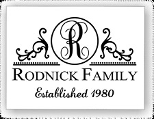 """12"""" x 18"""" Sturdy Aluminum Sign - Family Name Initial Monogram Personalized"""