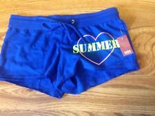 NWT Juniors No Boundaries French Terry Smiley Face Short Shorts XS 0- 2 Blue