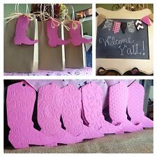 20 Pink boot favor tags for a western Cowgirl party theme paisley chevron W/ties