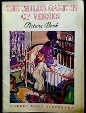 THE CHILD'S GARDEN OF VERSES  ~Beautiful Vintage 1932 Lithograph Softcover Book