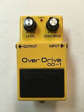 Boss OD-1 Over Drive Vintage 1980 Long Dash Silver Screw Guitar Pedal MIJ Japan