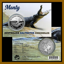 "Australia 1 Dollar Silver Frosted Coin 1 oz, 2016 Saltwater Crocodile ""Monty"""
