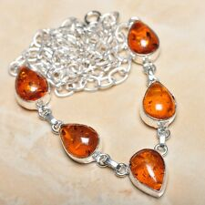 "Handmade Baltic Faux Amber Gemstone 925 Sterling Silver Necklace 19.5"" #N00804"