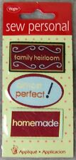 Wrights Sew Personal Appliques: 3 pcs-Family Heirloom, Almost Perfect & Homemade