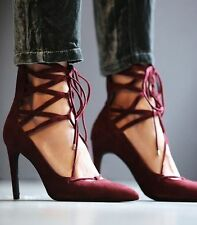 New Jeffrey Campbell Burgundy Suede Leather Hierro Heel Size 10 Lace