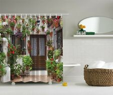 """White Brown Green Pink Floral Door Fabric Shower Curtain 70"""" Bathroom With Hooks"""