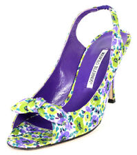 MANOLO BLAHNIK Green & Purple Floral Silk Bow Vamp Slingback Sandals 39