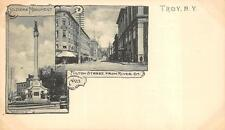 SOLDIER'S MONUMENT & FULTON FROM RIVER STREET TROY NEW YORK POSTCARD (c. 1900)