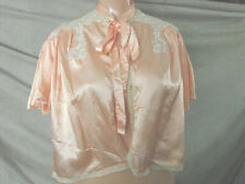 Vintage 40s Satin Bed Jacket Pink RUCHING Ivory Lace Collar M L GC