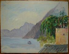 Ancienne Huile sur Papier Paysage ITALIE Oria Lac LUGANO Pédalo Tableau Dessin