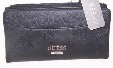 Guess Black Designer Lady's Wallet  12 card holder  w/zip pockets