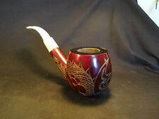 Old Vtg Antique Oriental Carved Smoking Tobacco Pipe Wood