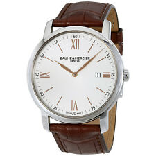 Baume et Mercier Classima Silver Dial Brown Leather Strap Mens 42mm Watch 10144