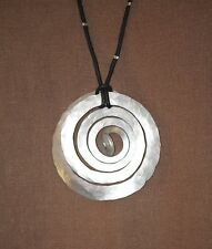 NATURE BY HAND Handmade LAGENLOOK Hammered Aluminum TCHAI NECKLACE Large  CEC43