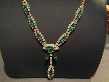 "Vtg Estate Juliana Emerald Green Glass Rhinestone Navette Art Deco 18"" Necklace"