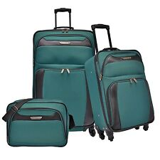 Traveler's Choice Ultimate 3pc Teal Expand Spinner Luggage Tote Bag Suitcase Set