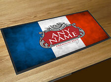 Personalised Grunge French Flag Beer label bar runner Pub Bar MAT ..ANY NAME..