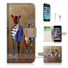 "iPhone 6 (4.7"") Print Flip Wallet Case Cover! Art Zebra P0049"