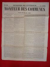 JOURNAL LE MONITEUR DES COMMUNES MINISTERE DE L'INTERIEUR N°51 21 DECEMBRE 1866
