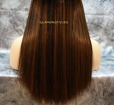 "18"" BROWN FLIP IN SECRET CLEAR WIRE HUMAN HAIR PIECE EXTENSIONS NO CLIP IN/ON"