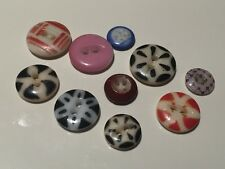 lot of 10 mixed vintage china stencil buttons