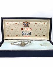 Vintage Retro Deco 14k White Gold Diamond Accent Benrus Wind Up Wrist Watch